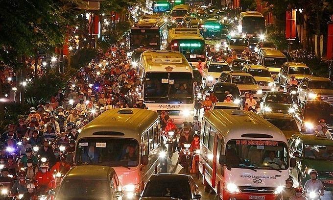 HCMC 人々 渋滞